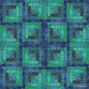 16 Block Log Cabin Pre-Cut Quilt Kit  PACIFIC NIGHTS #2. Island Batik Fabric NEW