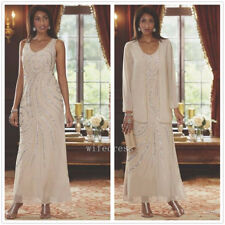 Champagne Chiffon Mother of the Bride Dress Ankle Length Jacket  Beaded Sequins