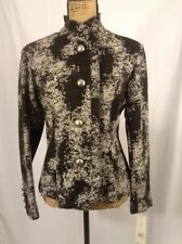 NEW NWT Robert Kitchen Black & White Ruffle Edge Jacket Blazer MSRP $262 Size 8