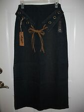 Ladies Authentic Angfu Long Jean Skirt ~ Attached Belt w/Leather Fringe ~ XL