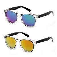 Kid's Retro Sunglasses Clear Frame 2 Tone Horn Rimmed with Flash Mirror Lens