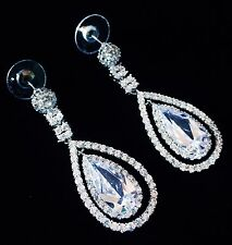 EARRING using Swarovski Crystal Dangle Drop Wedding Bridal Rhodium Silver CZ49
