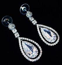 EARRING using Swarovski Crystal Dangle Drop Wedding Bridal Rhodium Silver CZ49