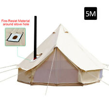 5M Bell Tent Camping Canvas Tent Beach Yurt British Safari Waterproof Stove Jack