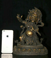 """12.8""""tibétain cuivre Vajrapani Chine courroucé divinité tutélaire Bouddha Statue"""