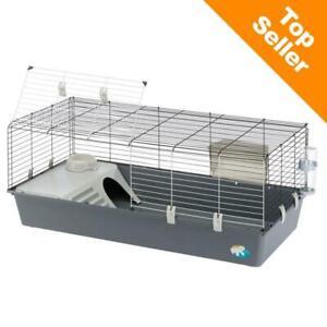 118Cm Large Rabbit & Guinea Pig Cage Starter Indoor Hutch Folding Door Grey