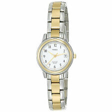 Timex T25771 White Dial Two tone Steel Bracelet Strap Indiglo Womens Watch