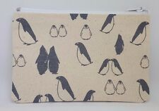 Grey Penguins Linen Mix Fabric Handmade Zippy Coin Money Purse Storage Pouch