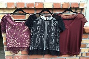 Lot of 3 Express Women's Lace  Blouses Size Small Black and Burgundy  EUC