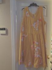 Women's Plus Size eShakti Dress, Size 5X 32W -- Yellow with Floral Appliques