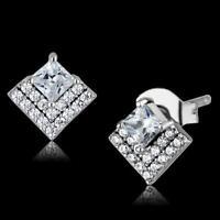 Silver stud earrings princess cut cz cubic zirconia sterling 925 stamped 493