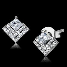 S493 STERLING SILVER PRINCESS CUT EARRINGS SIMULATED DIAMONDS STUDS STUD CLEAR