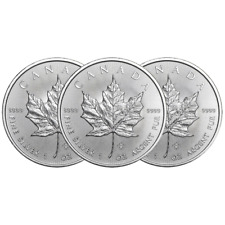Lot of 3 - 2019 $5 Silver Canadian Maple Leaf 1 oz Brilliant Uncirculated