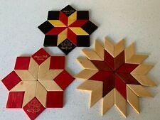 Trivets 3 Vintage Mosaic Wooden Star Coaster/Trivets Woven/Niagara Falls Canada