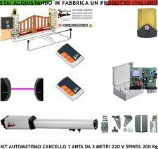 AUTOMAZIONE CANCELLO 1 ANTA 3 MT MOTORE 220 V. KIT CED 2 RADIOC FARO FOTOC SELET
