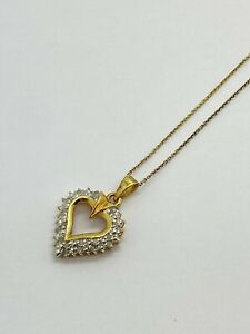 """Sterling 925 Silver Heart Pendant W/ Accent Diamond Signed """"RSE"""" Necklace 18"""""""
