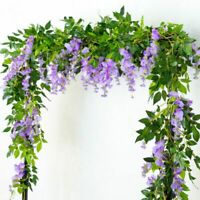 Artificial 7ft Wisteria Vine Hanging Flower String Garland Plant Fake Flowe