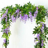 Artificial 7ft Wisteria Vine Hanging Flower String Garland Plant Fake Flowe