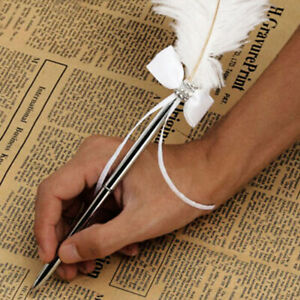 1pc Fashion Ostrich Quill Feather Bowknot Diamante Pen Wedding Guest Signing Pek