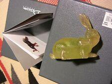 DAUM signed (greenish) Yellow Amber Rabbits RARE paperweight statue PATE DE VERE