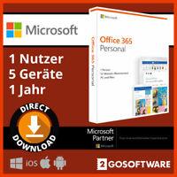 Microsoft Office 365 Personal 5 Geräte 1 Nutzer 1 Jahr Lizenz für Windows Mac