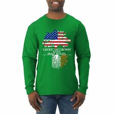 American Grown With Irish Roots St. Patrick's Day Mens Long Sleeve Shirt