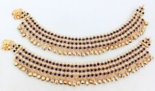 Rhinestone Pearl Bridal Payal Anklet Jewelry Indian Gold Plated Blue White Color