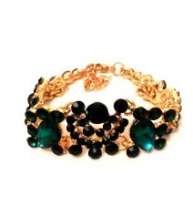 Womens Ladies Statement Gold Green Crystal Diamante Rhinestone Chain Bracelet