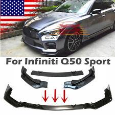 Glossy Black Front Bumper Lip Spoiler Cover For Infiniti Q50 Sport 2014-2017