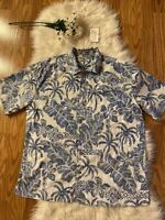 Batik Bay Floral Blue& White Reverse Print Hawaiian Button Down Shirt Men Sz. XL