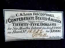 Unc U.S. Civil War 1863 $35 Note Confederate States Of America #1