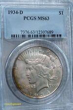 1934-D $1 Peace Silver Dollar - PCGS MS63