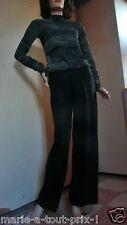 SARAH PACINI PANTALON LIN NOIR Taille 0 ou 36 valeur 172 euros très féminin !!!!