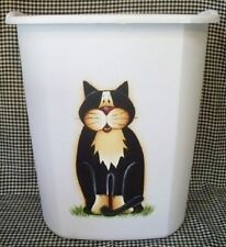 HAND PAINTED CAT WASTE PAPER BASKET/WHIMSICAL/ NEW ITEM