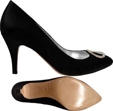 $150 MARTINEZ VALERO Anna Satin Pumps ~ Black Satin NEW Size 6