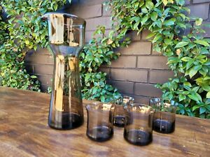 Vintage Smokey Glass Pitcher With  4 Small Glasses