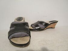 Bass Womens Casual Leather Slip On Slide Wedge Sandals Black Size 6