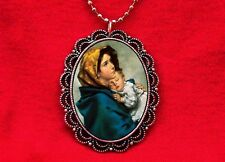 VIRGIN MARY SAINT MOTHER CHILD BABY JESUS RELIGIOUS PAINTING PENDANT NECKLACE