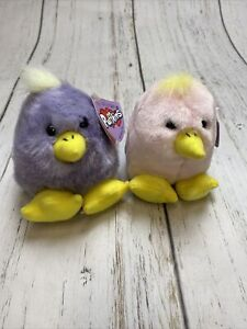 Vintage Puffkins Plush Set 2 Easter Chicks Limited Edition 2000 With Tags Bird