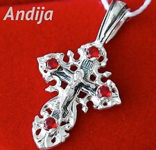 Small Save and Protect Red Gem Stones Silver 925 Cross Russian Orthodox Jewelry