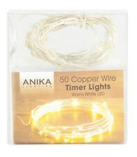 50 Timer Warm White LED Battery Micro Wire Copper Tone Fairy String Lights Party