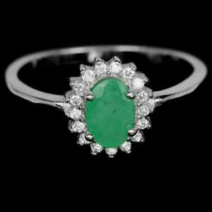 LOVELY NATURAL EMERALD STERLING RING ZC SIZE Q1/2