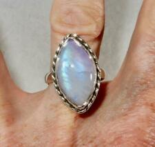 Rainbow Moonstone Flashy Purple Marquise Ring 925 Sterling Silver Size 9