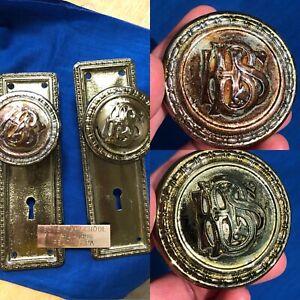 OOAK Antique Historic Gold P Brass Door Knob Set Boys High School Reading,Pa RHC