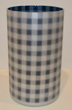NEW YANKEE CANDLE PICNIC IN THE PARK JAR CANDLE HOLDER INDIGO BLUE GINGHAM LARGE