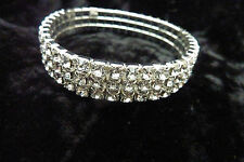 UK Diamante Clear Crystal 3 Row Bracelet Wedding Gift Bridesmaid Stretchy 50's