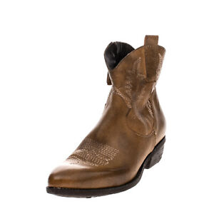 RRP€140 DIVINE FOLLIE Leather Western Boots EU38 UK5 US8 Worn Look Made in Italy
