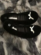 Victoria Secret Fuzzy Soft Slip On Slippers Shoes Black Small(5/6) New