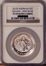 2012 Australia High Relief Silver $1 Dragon Proof Coin NGC PF69