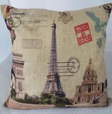 Eiffel Tower Paris Scenes Linen Look Cushion Cover Home Pillow Case Decor 45cm